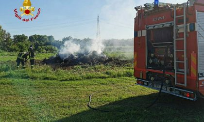 Cumulo di sfalci a fuoco in prossimità dell'uscita Castagnito