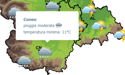 Meteo Cuneo: forti rovesci di pioggia previsti per oggi, domani torna il sole